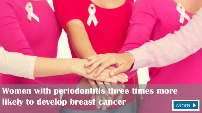 Women with periodontitis three times more likely to develop breast cancer